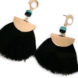 Jewelry - BLACK POST TASSEL EARRINGS